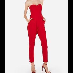 Express Red Sweetheart Strapless Jumper